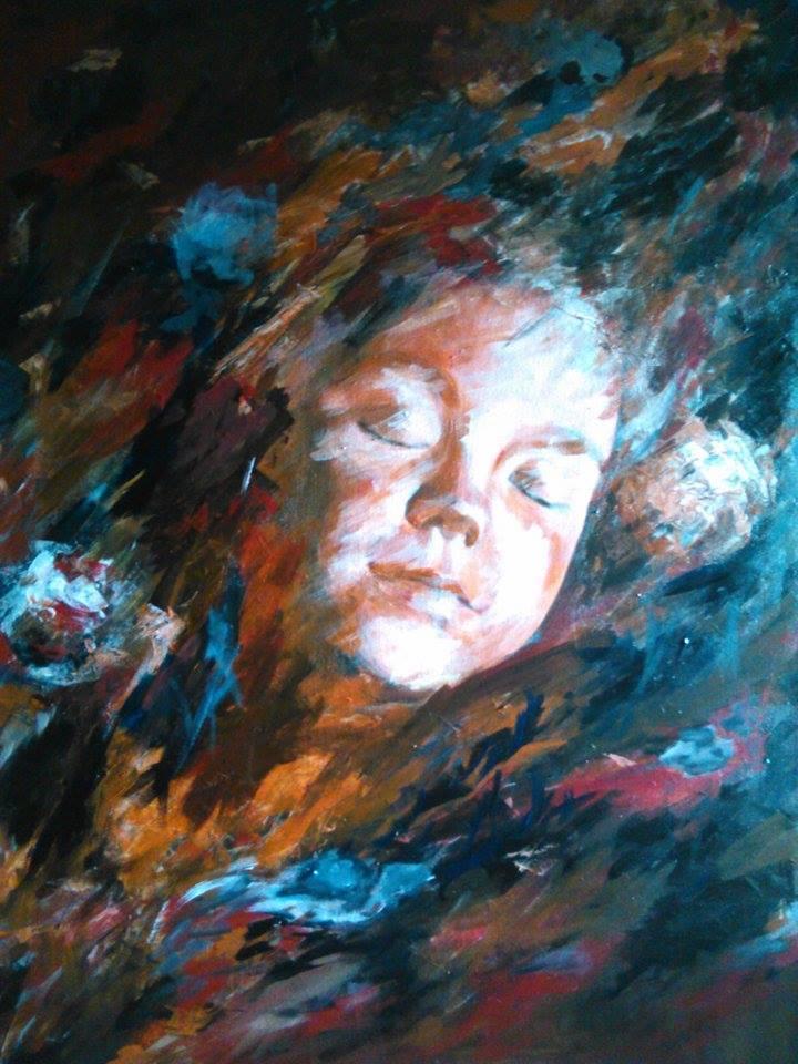 Pictura tablou copil portret Crina Oprean