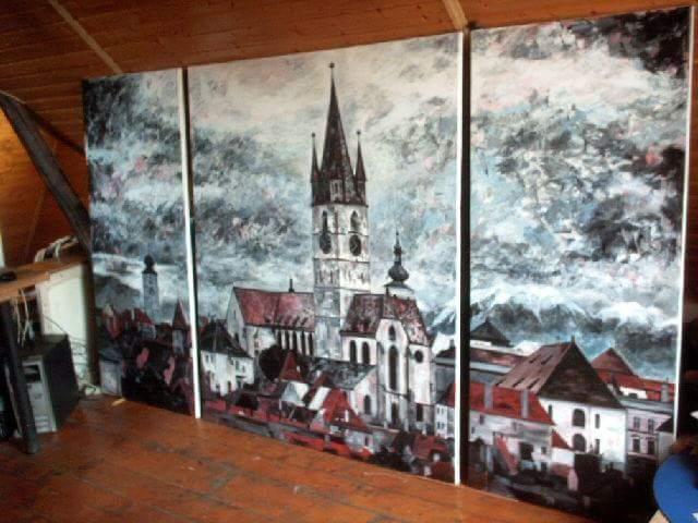 Sibiu tablou peisaj triptic acrilic panza Crina Oprean