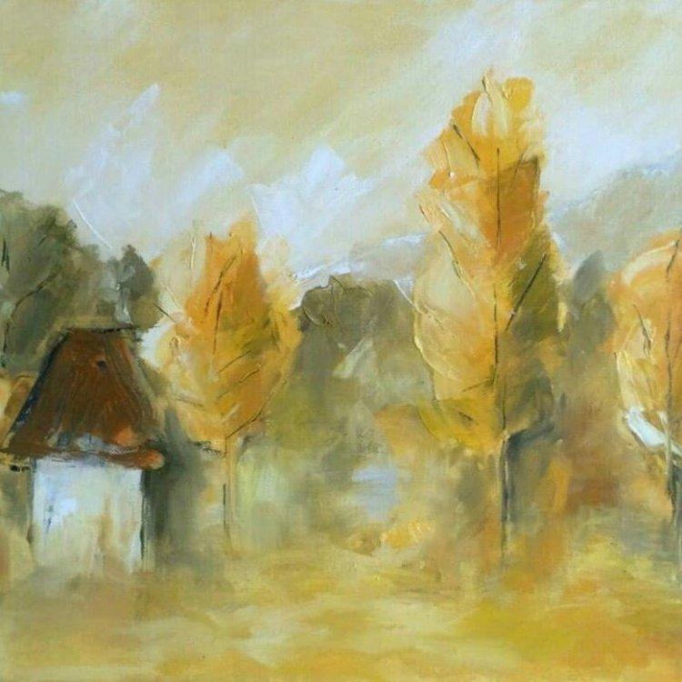 Peisaj rural sat tablou pictura Antonela Giurgiu