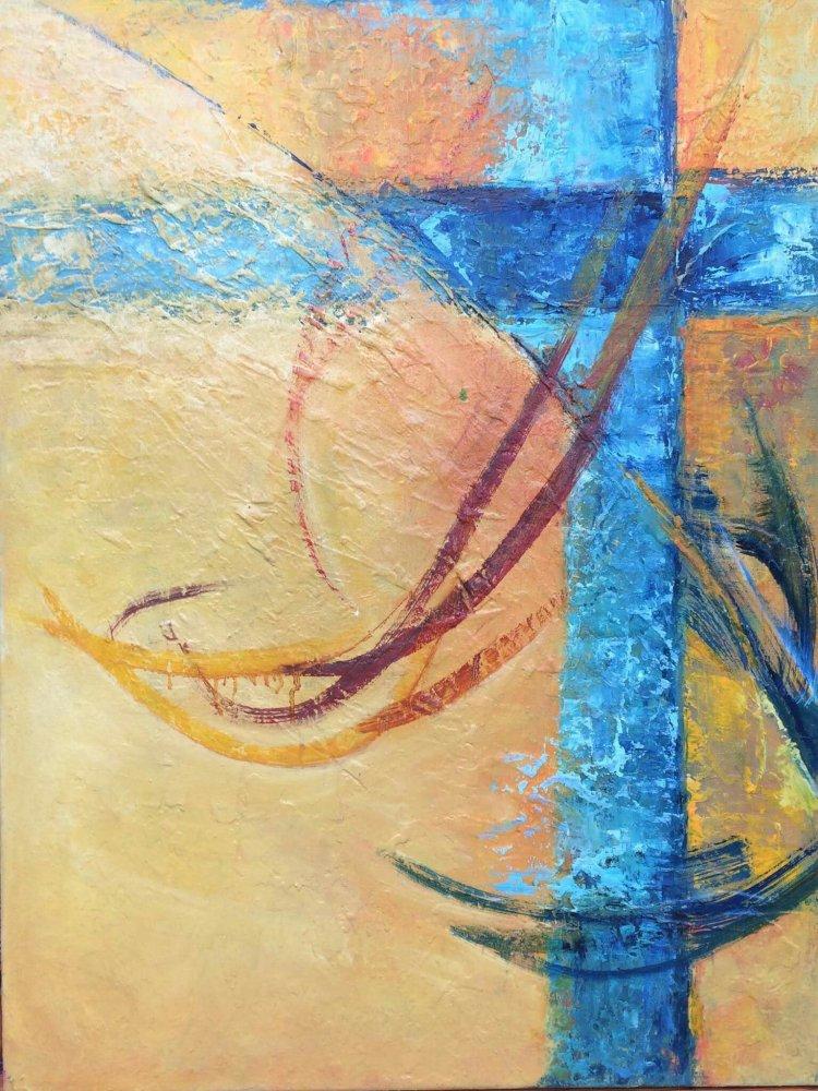 Cruce cer albastru tablou pictura ulei Antonela Giurgiu