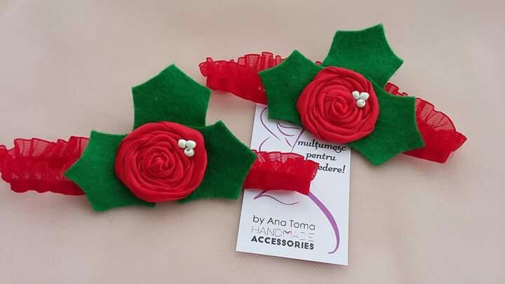 Bentita craciun bebelusi floarea craciunului rosu verde cadou cadouri