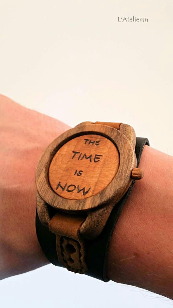 Bratara lemn piele barbati the time is now