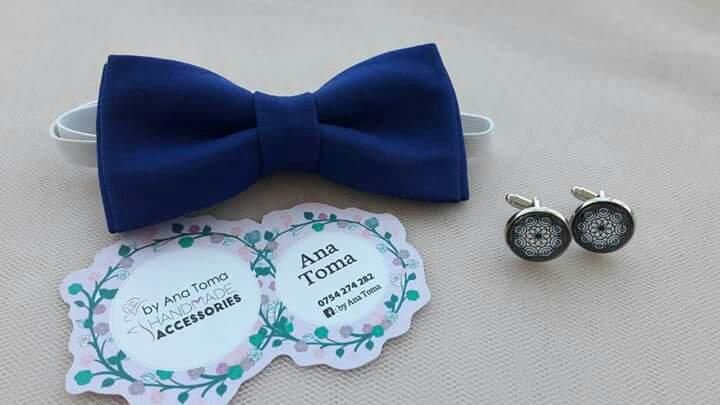 Papion butoni albastru bleumarin handmade barbati