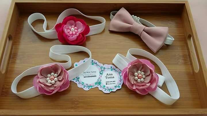 Bentite papion papioane baieti fete copii asortate bej crem roz perle heartwarming sibiu