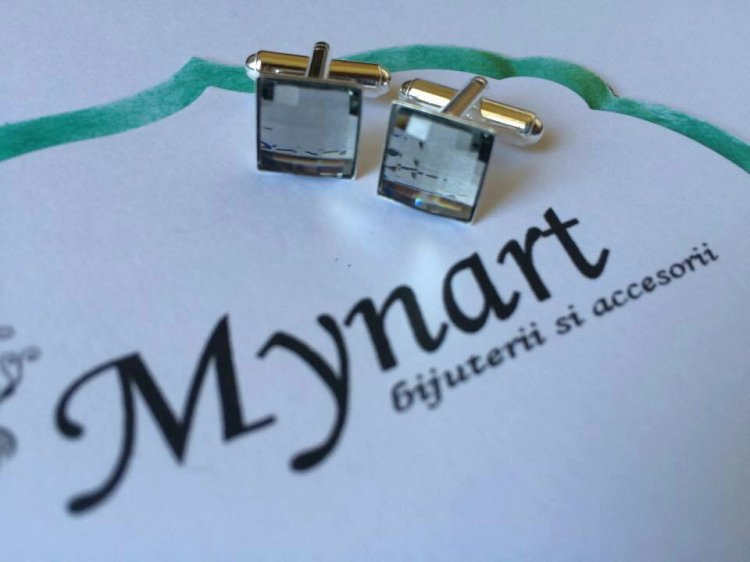 Butoni argint cristale swarowski elegant barbati fashion stil unicat cadou craciun heartwarming sibiu