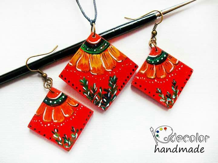 Cercei colier rosu galbenele cadou cadouri heartwarming Sibiu