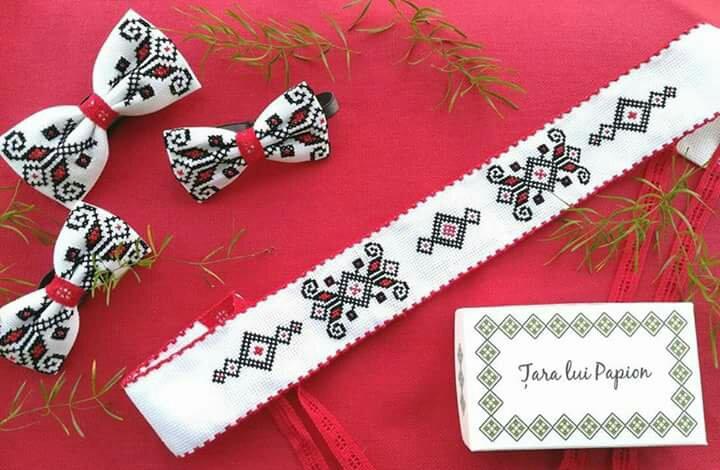 Brosa papion brau motive traditionale artizan handmade heartwarming sibiu