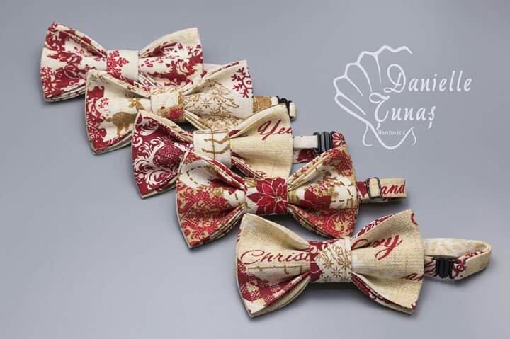 Papion elegant crem caramiziu handmade Danielle tunas handmade cadou craciun frati heartwarming sibiu