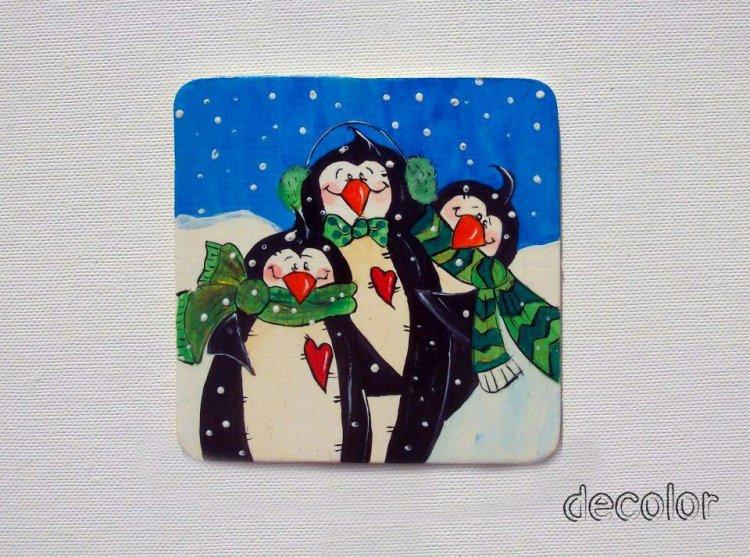 Magnet frigider handmade manual amuzant haios pinguini frig zapada cadou craciun barbati baieti heartwarming sibiu