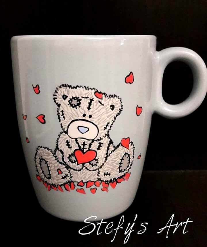 Cana ursulet urs de plus inima inimioara iubire pictat manual sibiu