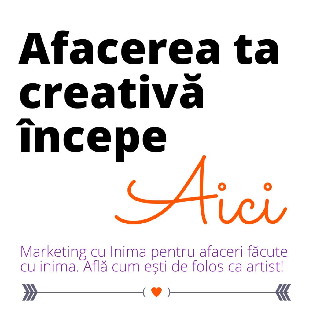 Afacere creativa artist artizan ilustrator marketing cu inima