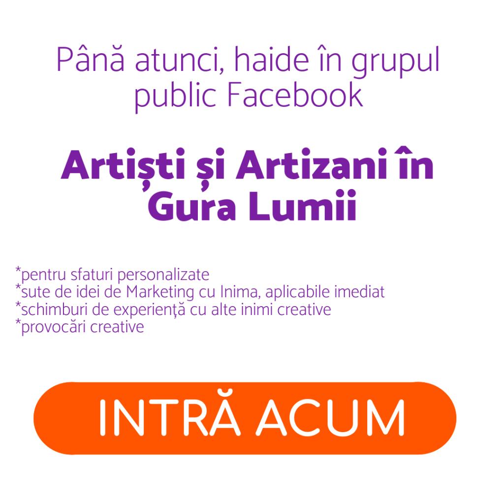 Inscriere curs atelierul inimilor creative mrketimg pentru creatori artiști artizani